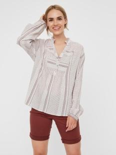 vmhazel ls top wvn 10226534 vero moda blouse snow white/sable stripe