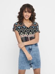 Jacqueline de Yong T-shirt JDYTRAVIS LIFE S/S V-NECK TOP WVN 15211419 Black/IKAT