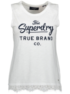 Superdry Top JESSICA GRAPHIC LACE TANK W6010275A CHALK WHITE