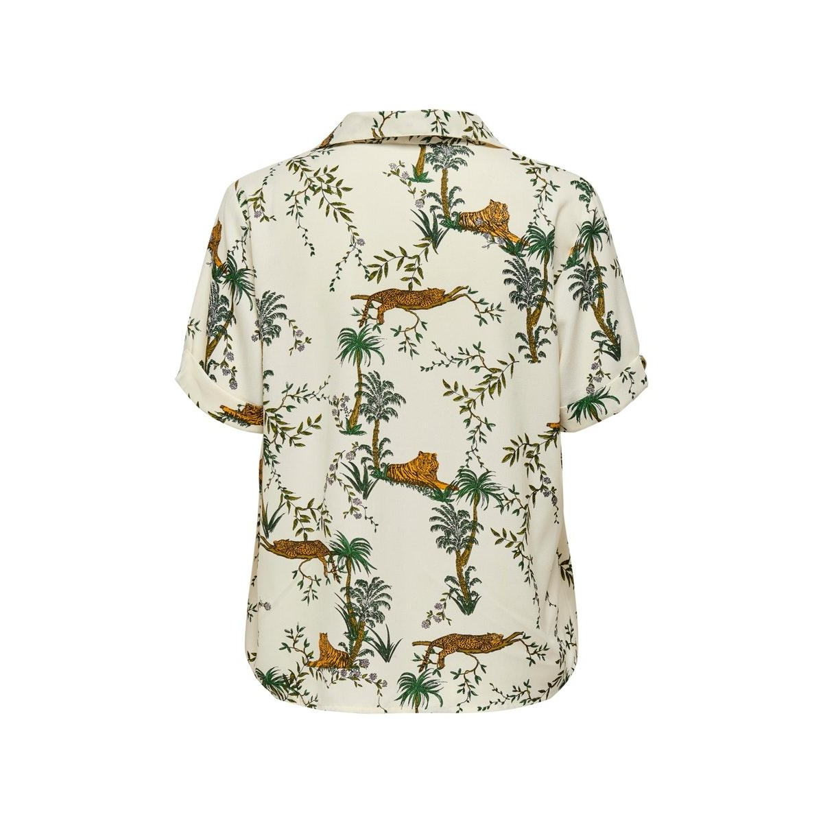 onlelvina s/s button through top wvn 15201205 only blouse transparent yel/lazy tiger