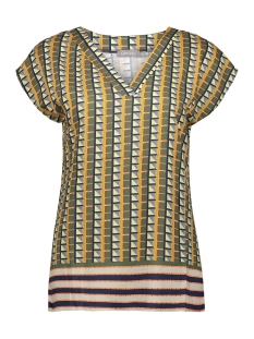 Geisha T-shirt TOP V NECK SQUARE SS 03414 20 Camel/Green combi