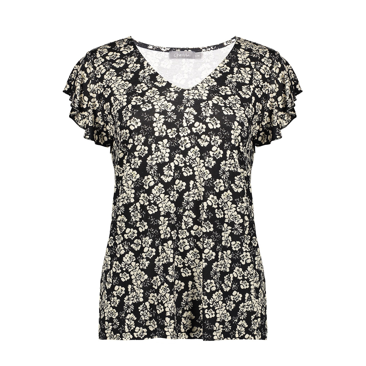 top v neck gold ruffle sleeve 03454 20 geisha t-shirt black/off-white/gold combi