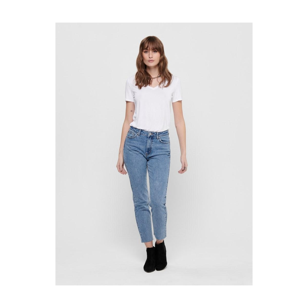 onlfree life s/s v-neck top noos jr 15199572 only t-shirt white
