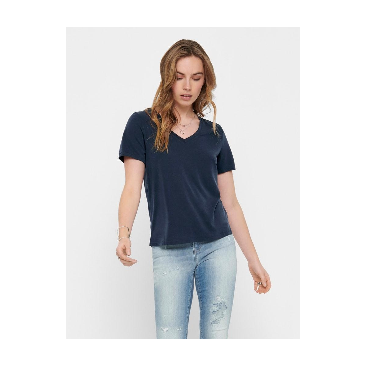onlfree life s/s v-neck top noos jr 15199572 only t-shirt night sky