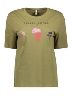 Only T-shirt ONLKITA LIFE BOXY S/S WORLD TOP BOX 15199873 MARTINI OLIVE/TRAVEL