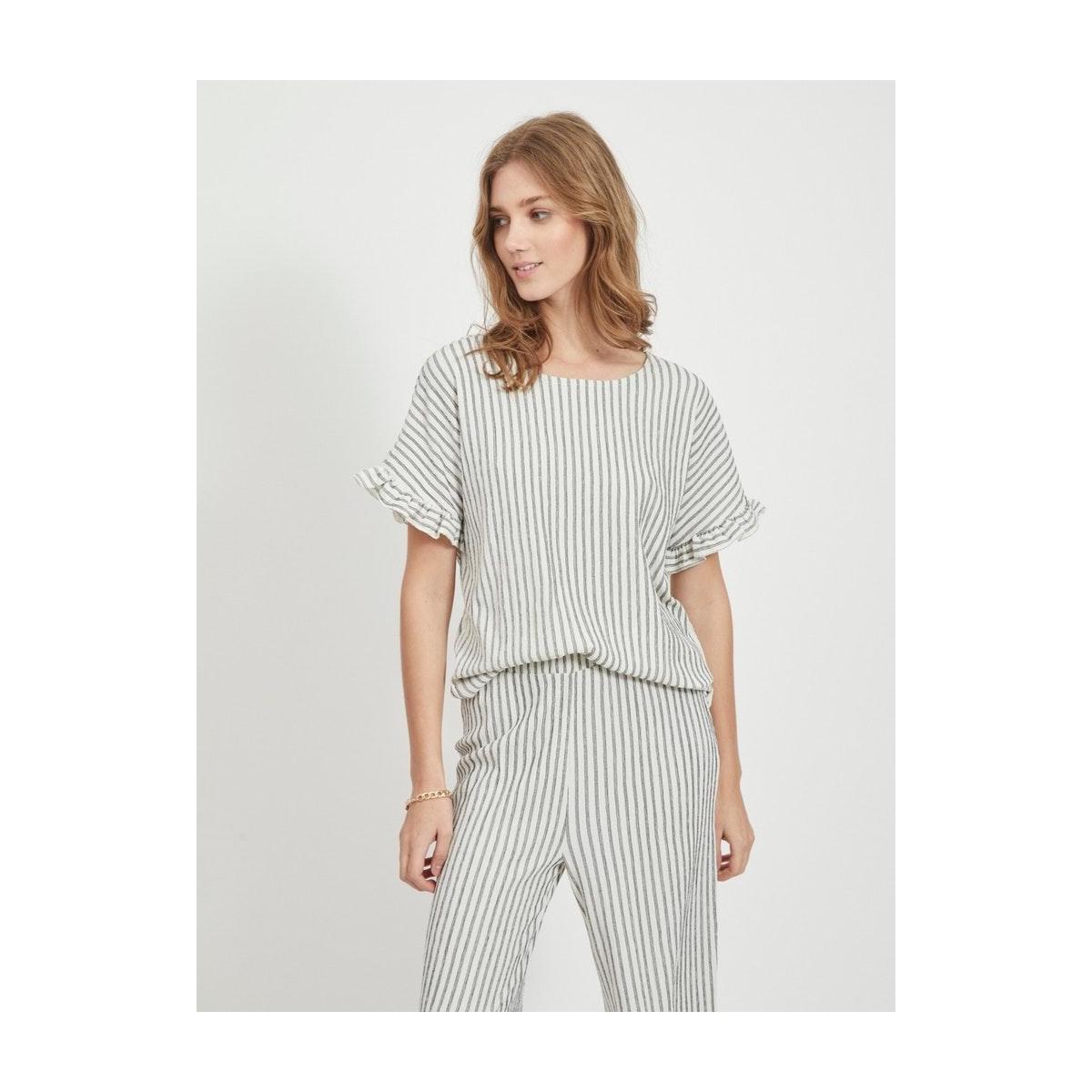 vivanilla s/s o-neck flounce top 14058602 vila t-shirt snow white/black stripes