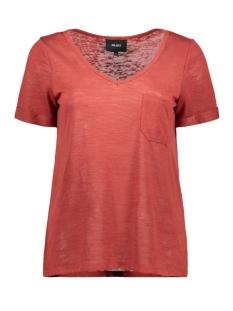 Object T-shirt OBJTESSI SLUB S/S V-NECK SEASONAL 23026968 Tandori Spice