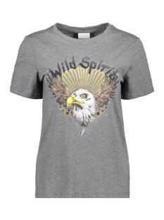 Vila T-shirt VITABITA S/S T-SHIRT/KI 14057031 MEDIUM GREY MEL/EAGLE