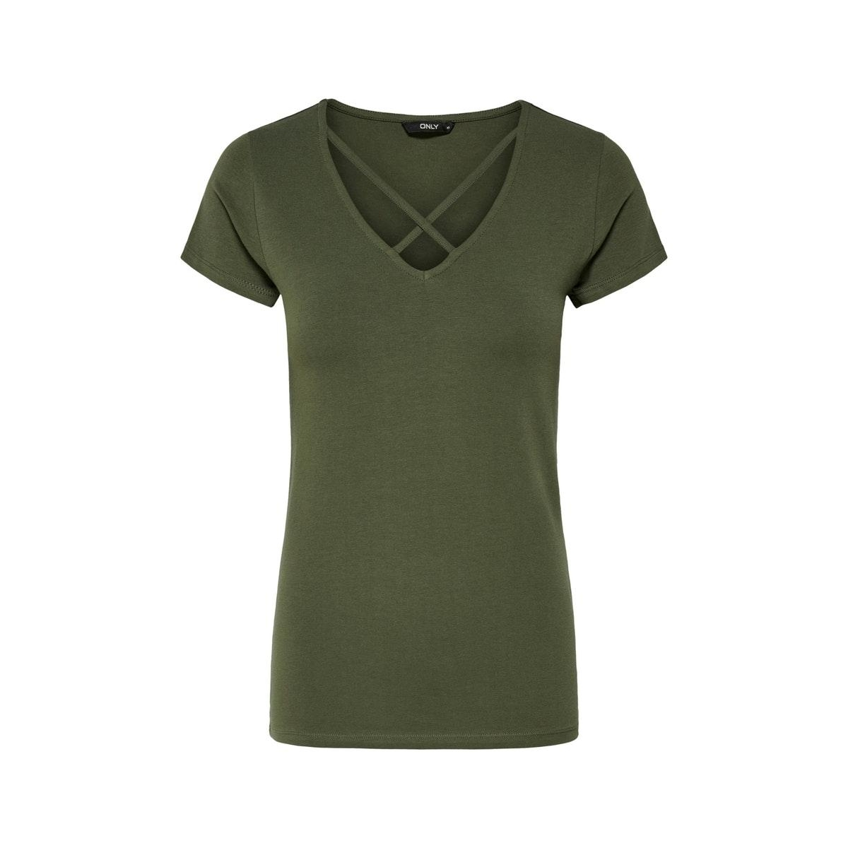 onllive love s/s lace up front top 15182823 only t-shirt kalamata