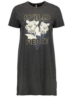 ONLLUCY LIFE REG S/S RAW DRESS BOX 15211123 Black/WILD FIERC