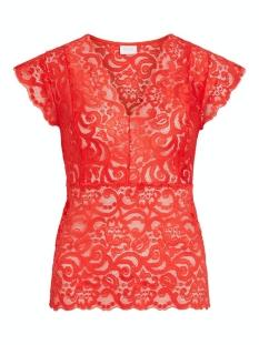 Vila T-shirt VITAINI S/L LACE TOP 14056937 Flame Scarlet