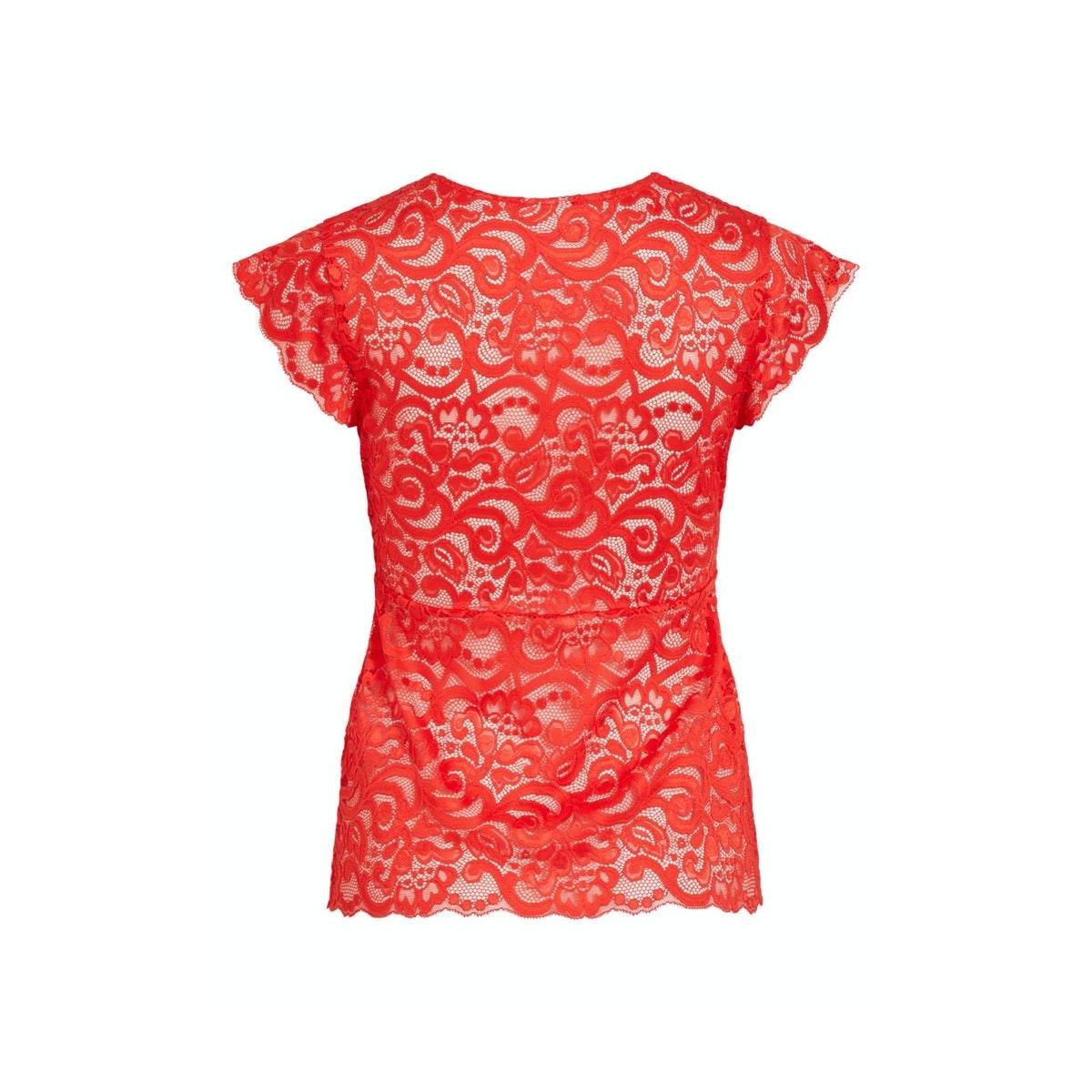 vitaini s/l lace top 14056937 vila t-shirt flame scarlet