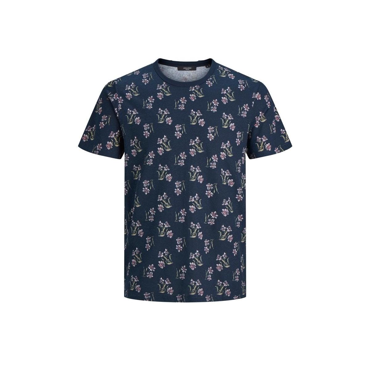 jprsummer bla. flower tee ss crew n 12173704 jack & jones t-shirt navy blazer/reg fit