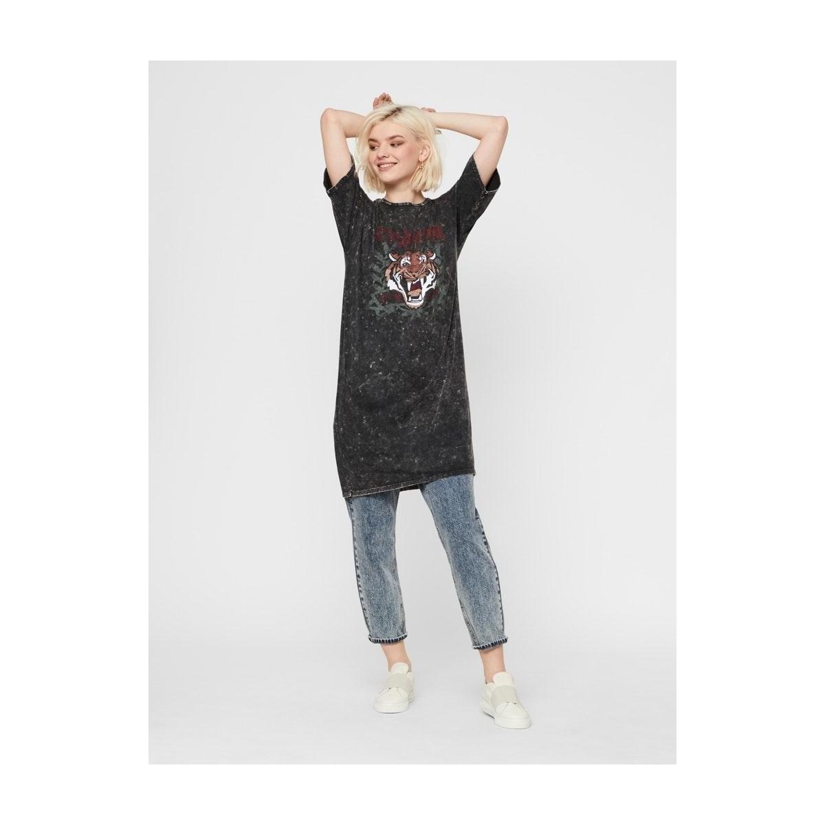 nmweekend s/s washed tee dress 27013593 noisy may jurk black/stronger