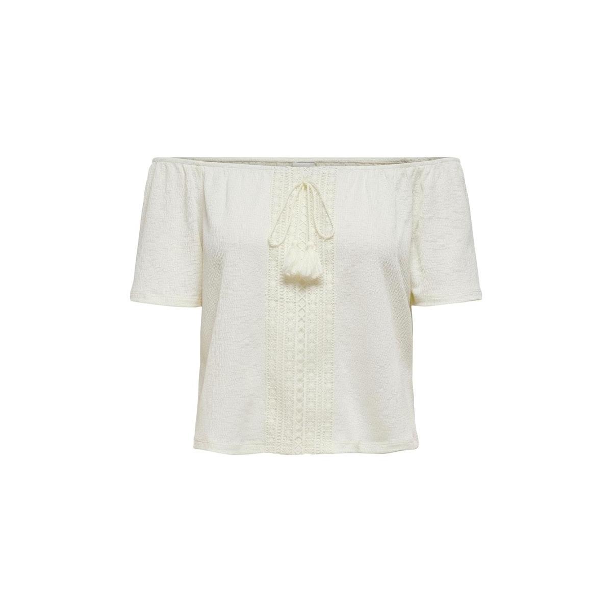 jdyfille off shoulder top jrs 15204539 jacqueline de yong t-shirt cloud dancer/dtm croche
