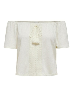 Jacqueline de Yong T-shirt JDYFILLE OFF SHOULDER TOP JRS 15204539 Cloud Dancer/DTM CROCHE