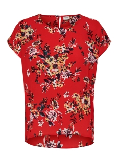 Jacqueline de Yong T-shirt JDYWIN TREATS S/S O-NECK TOP WVN 15176859 Goji Berry/FLOWER
