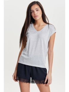 Only T-shirt ONLSILVERY S/S V NECK LUREX TOP JRS 15136069 Silver