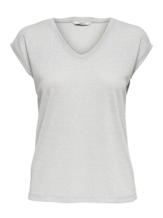 onlsilvery s/s v neck lurex top jrs 15136069 only t-shirt silver