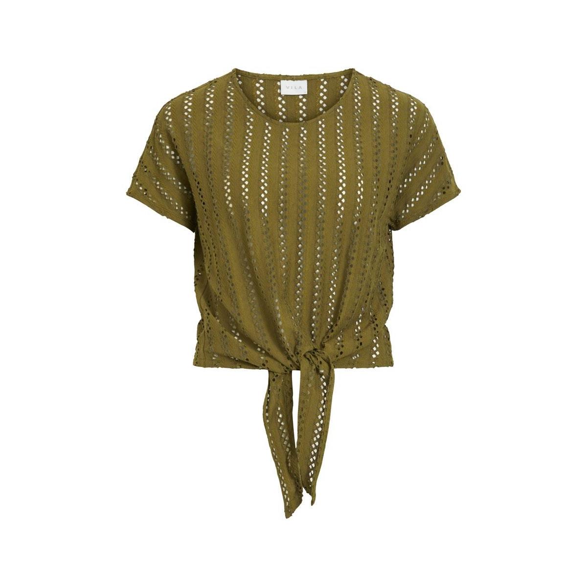 vipiline s/s tie  t-shirt/l 14059761 vila t-shirt dark olive
