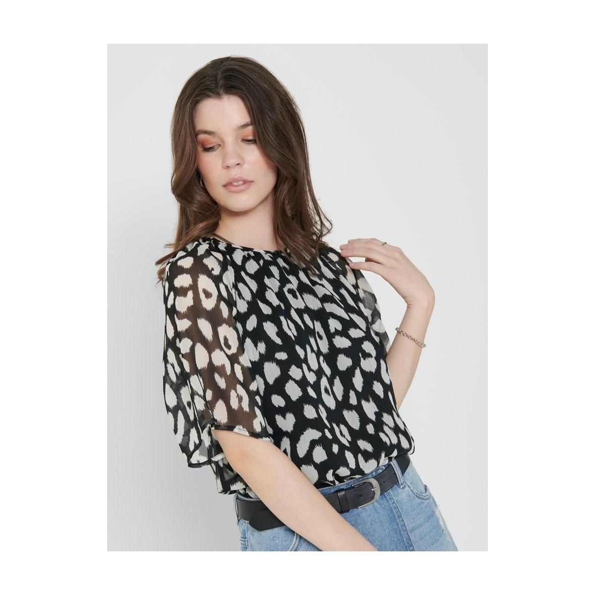 jdysally s/s top wvn exp 15217488 jacqueline de yong t-shirt black/leo