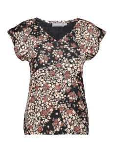 top v neck multiflower 03439 20 geisha t-shirt black combi