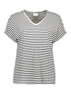 Vila T-shirt VIDELL S/S V-NECK T-SHIRT/L 14057207 Navy Blazer/W. SNOW WH