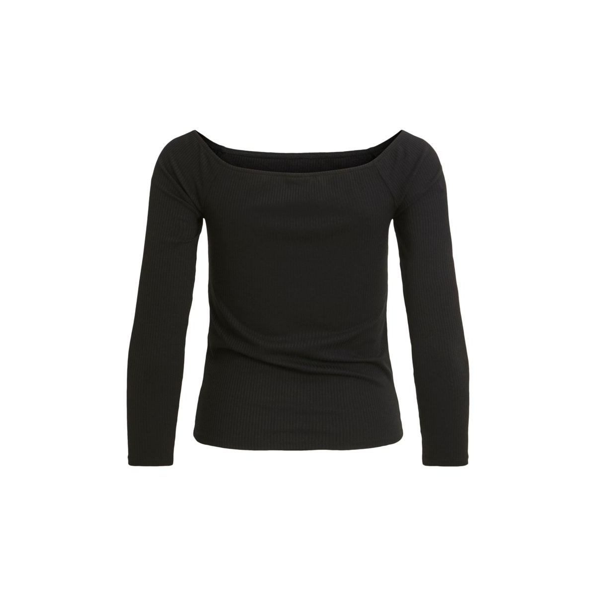 viedel l/s offshoulder rib top/za 14057935 vila t-shirt black