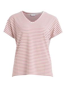 Vila T-shirt VIDELL S/S V-NECK T-SHIRT/L 14057207 Dusty Cedar/W. SNOW WH