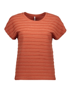 Only T-shirt ONLMILLIE S/S GLITTER TOP JRS 15199160 HOT SAUCE