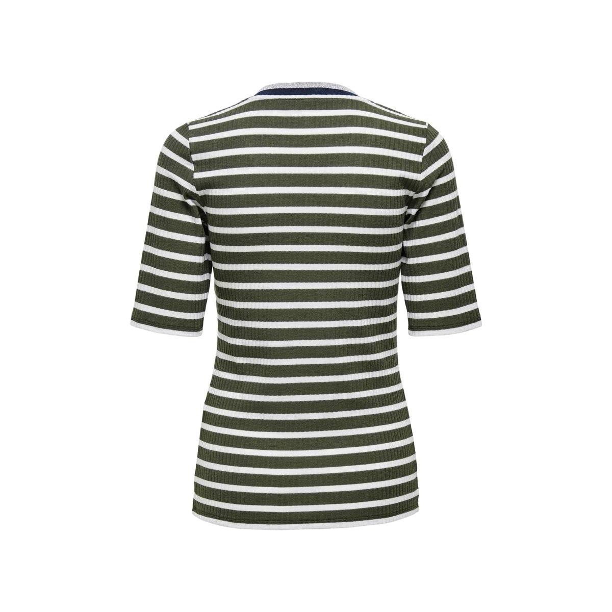 onlkilwa v-neck rib 2/4 top jrs 15219745 only t-shirt kalamata/cloud danc