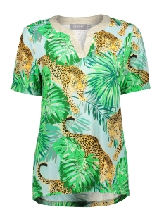 Geisha T-shirt TOP AOP LEOPARD AND LEAVES SS 03255 20 AQUA/SAND