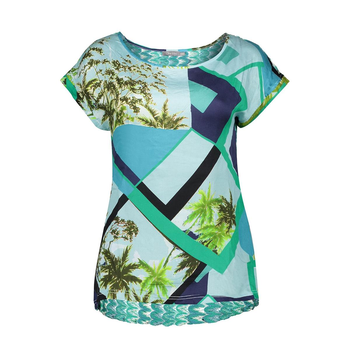 top raschel lace at back ss 03270 20 geisha t-shirt aqua combi