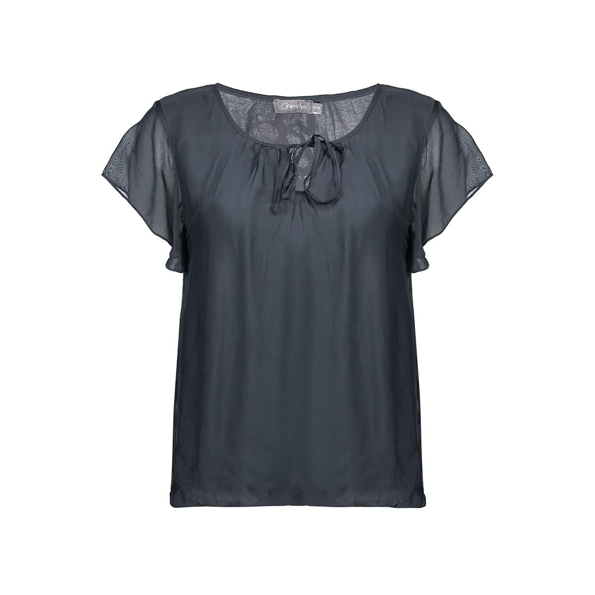 top silk with ruffles 03290 70 geisha t-shirt anthracite