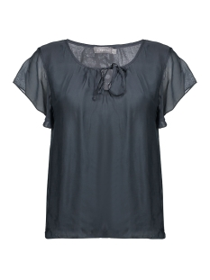 Geisha T-shirt TOP SILK WITH RUFFLES 03290 70 ANTHRACITE