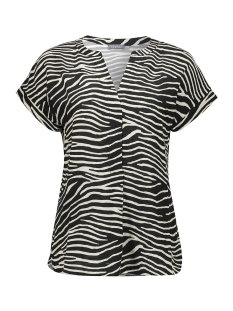 Geisha T-shirt BLOUSE V NECK ZEBRA SS 03456 20 Black/off-white/gold combi