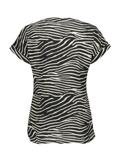 blouse v neck zebra ss 03456 20 geisha t-shirt black/off-white/gold combi
