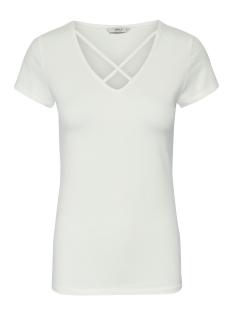 onllive love s/s lace up front top 15182823 only t-shirt cloud dancer
