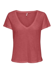 Only T-shirt ONLNANU LIFE S/S V-NECK TOP JRS 15207495 Mineral Red