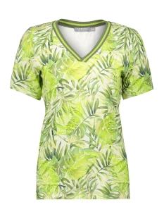 Geisha T-shirt TOP AOP LEAVES WITH LUREX TAPE SS 03195 20 Army/Lime