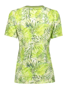 top aop leaves with lurex tape ss 03195 20 geisha t-shirt army/lime