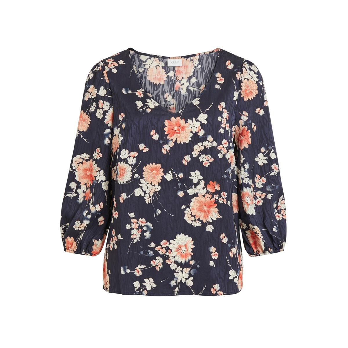 viwilla 3/4 v-neck top/l 14059184 vila t-shirt navy blazers/flowers
