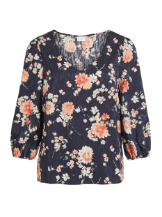 Vila T-shirt VIWILLA 3/4 V-NECK TOP/L 14059184 Navy Blazers/FLOWERS