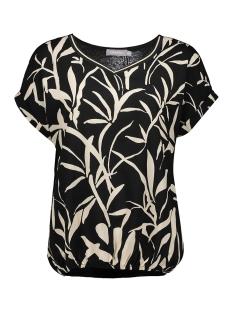 top aop leaves elastic waist ss 03140 23 geisha t-shirt black/white