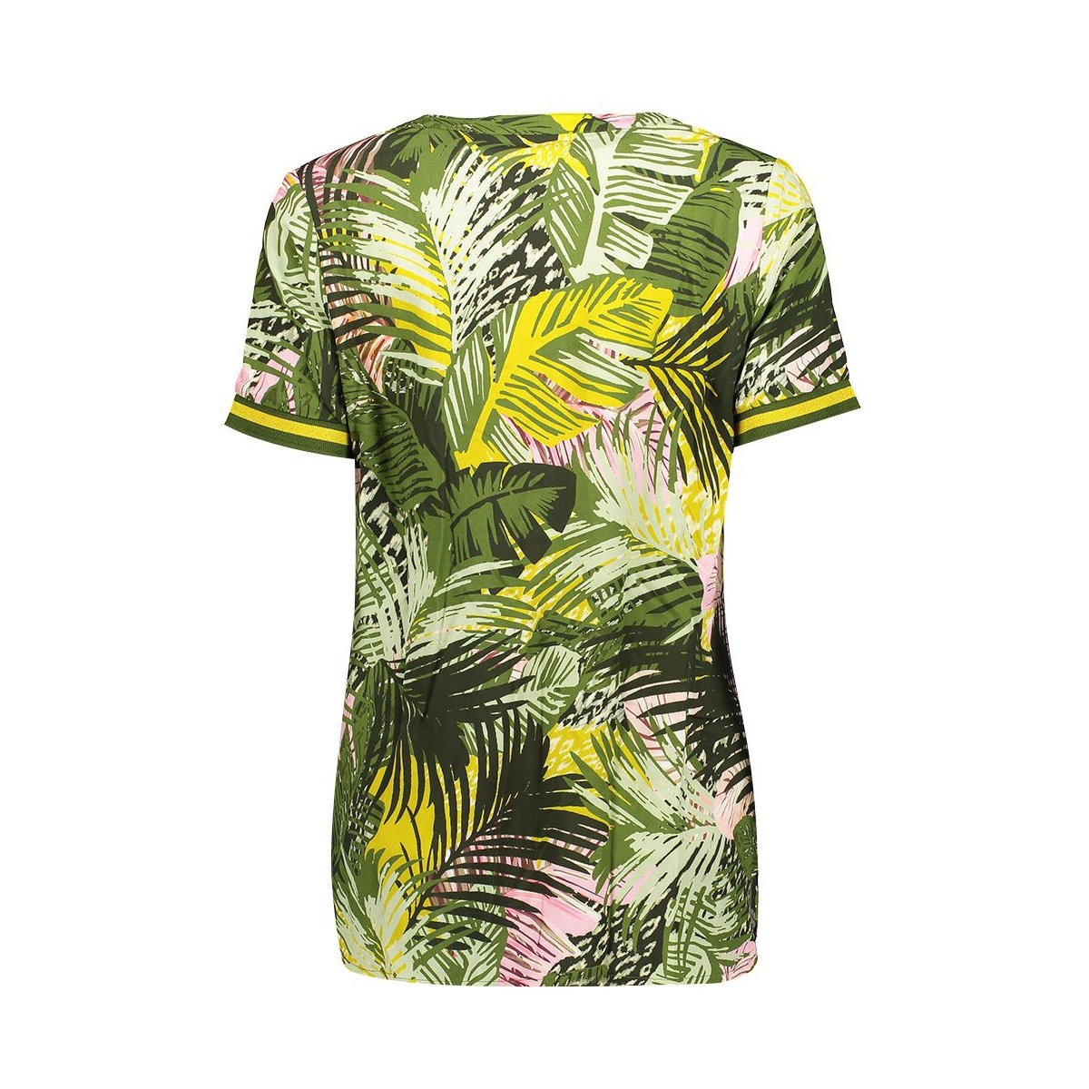 top aop leaves tape at sleeves 03217 20 geisha t-shirt army/pink combi