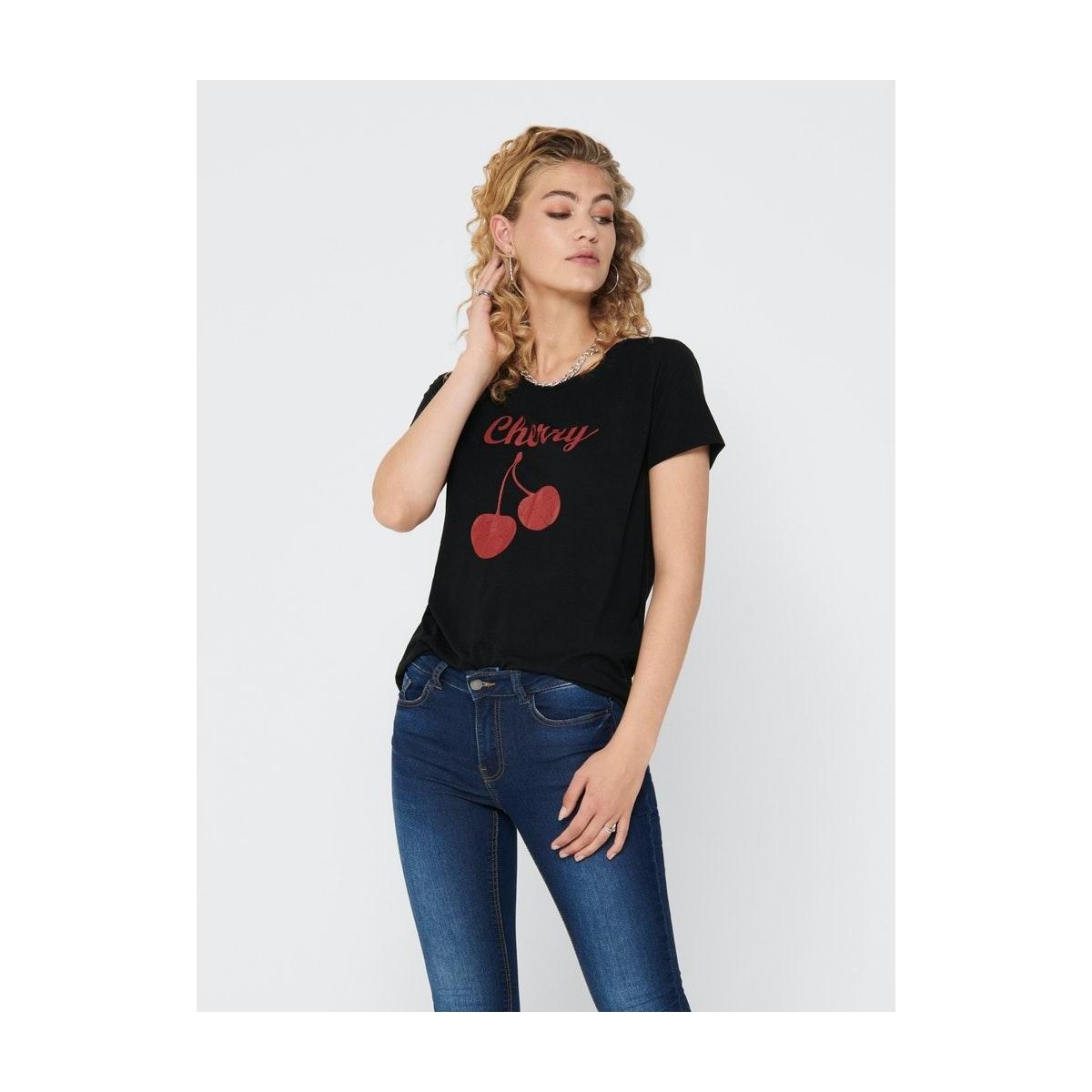 jdycity s/s print top jrs 0320 15198821 jacqueline de yong t-shirt black/cherry