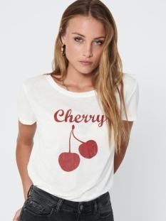 jdycity s/s print top jrs 0320 15198821 jacqueline de yong t-shirt cloud dancer/cherry