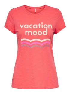 Only T-shirt ONLRETRO LIFE FIT S/S SUMMER TOP BO 15209363 Coral/VACATION