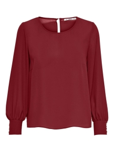 Only T-shirt ONLNORA LIFE L/S O-NECK TOP WVN 15207065 Pomegranate
