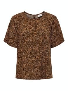 Jacqueline de Yong T-shirt JDYPEARL S/S TOP WVN 15209000 Black/LEATHER BROWN